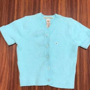 Gap button up light turquoise short sweater
